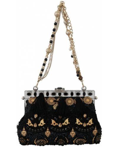 Czarna torebka na łańcuszku skórzana Dolce And Gabbana