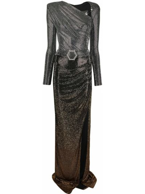Złota sukienka długa rozkloszowana z długimi rękawami Philipp Plein
