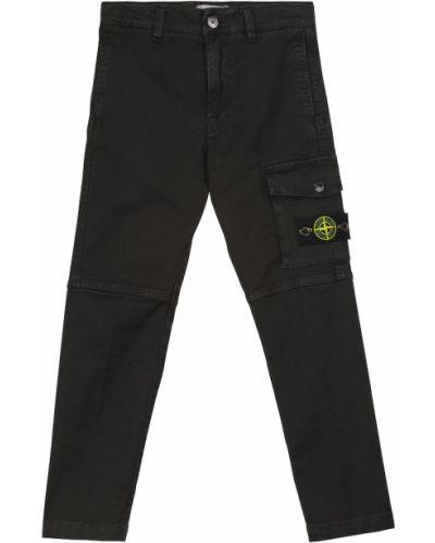 Брюки карго с карманами - черные Stone Island Junior