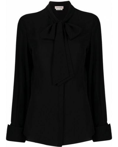 Шелковая черная блузка на пуговицах Alexander Mcqueen