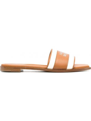 Brązowe sandały skorzane płaska podeszwa Alexander Mcqueen