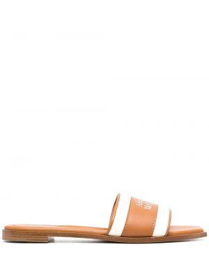 Sandały skórzane - brązowe Alexander Mcqueen