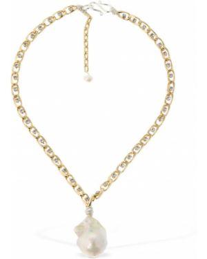 Biały złoty krótkie szorty perły Wald Berlin