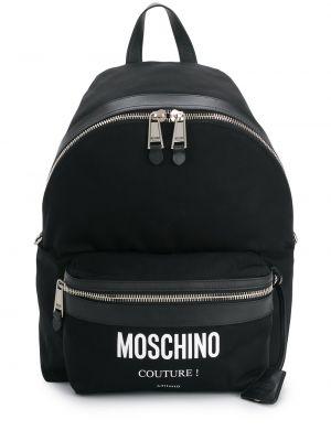 Skórzany plecak czarny z klamrą Moschino