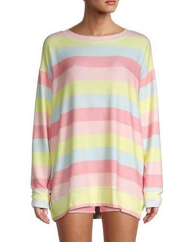 Мягкий длинный свитер в полоску с нашивками Wildfox