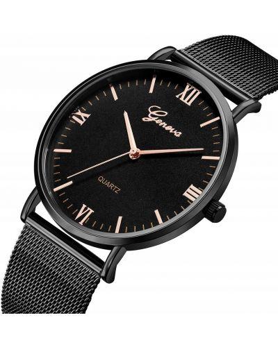 Klasyczny czarny zegarek z siateczką Geneva