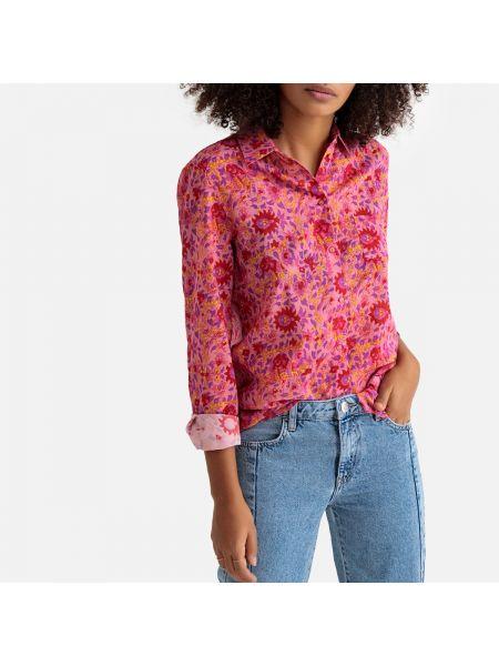 Хлопковая розовая рубашка с воротником с рисунком Sud Express