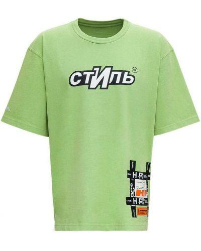 T-shirt z printem - zielona Heron Preston