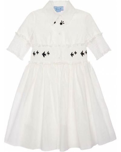 Biała sukienka koszulowa z haftem bawełniana Mimisol