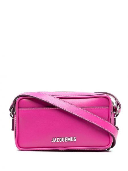 Розовая кожаная сумка через плечо на молнии Jacquemus