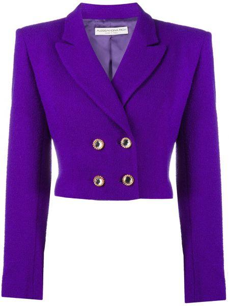 Фиолетовый шерстяной удлиненный пиджак двубортный Alessandra Rich