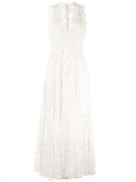 Платье с вышивкой прозрачное с V-образным вырезом на молнии Alexis