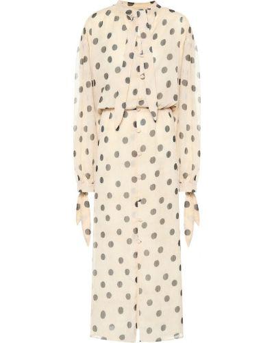 Платье макси с мехом шифоновое Nanushka