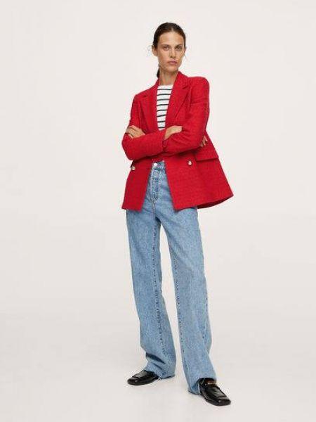 Красный пиджак двубортный Mango