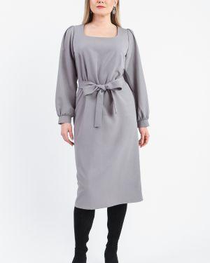 Платье с поясом серое на пуговицах Lacywear