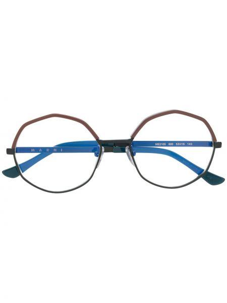 Прямые черные солнцезащитные очки металлические Marni Eyewear