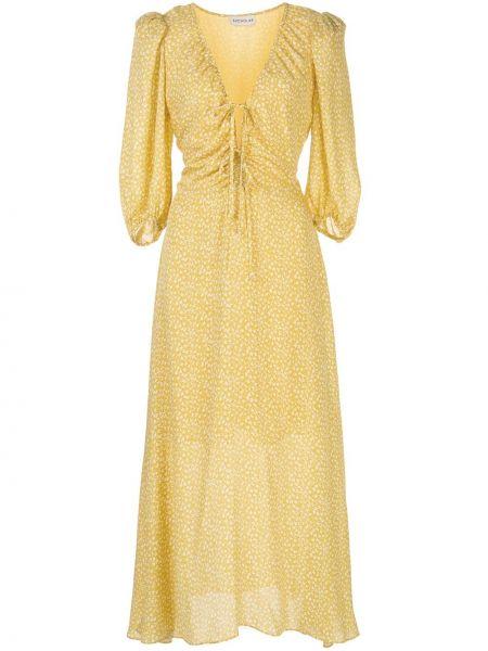Желтое шелковое платье миди на молнии с короткими рукавами Nicholas