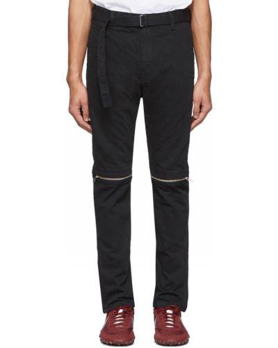 Czarne jeansy z paskiem bawełniane Sacai