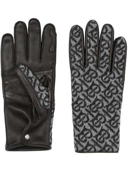 Skórzany czarny rękawiczki prążkowany Burberry