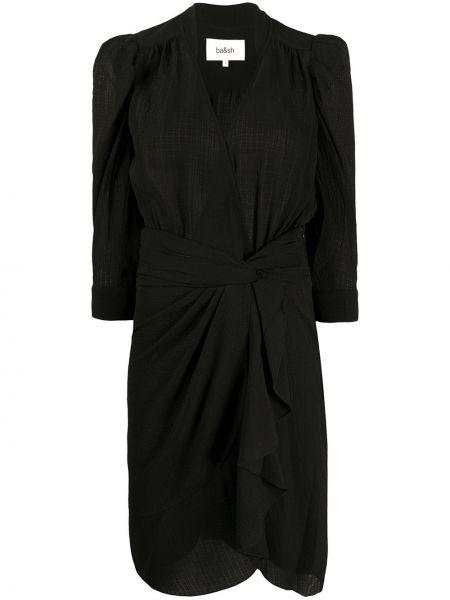 Черное платье с запахом с V-образным вырезом на пуговицах Ba&sh