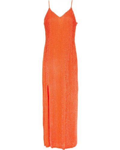 Pomarańczowa sukienka midi z cekinami z szyfonu Retrofete