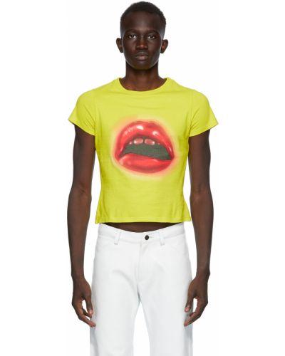 Żółty t-shirt bawełniany krótki rękaw Mowalola