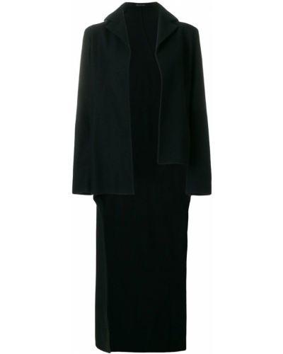 Черное длинное пальто с капюшоном Yohji Yamamoto Pre-owned
