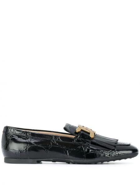 Czarne loafers skorzane płaska podeszwa Tod's