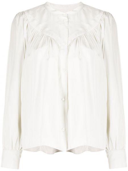 Шелковая с рукавами белая рубашка Masscob