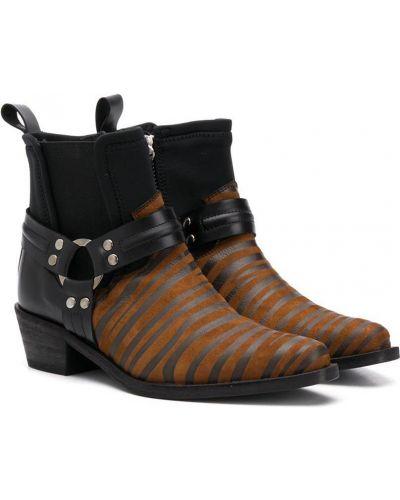 Кожаные коричневые ботинки на каблуке с острым носом Cinzia Araia Kids