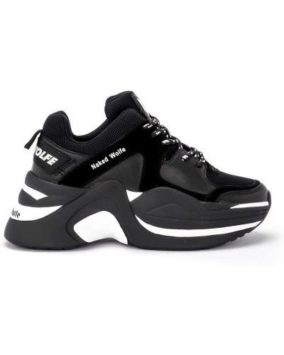 Czarne sneakersy na platformie skorzane Naked Wolfe