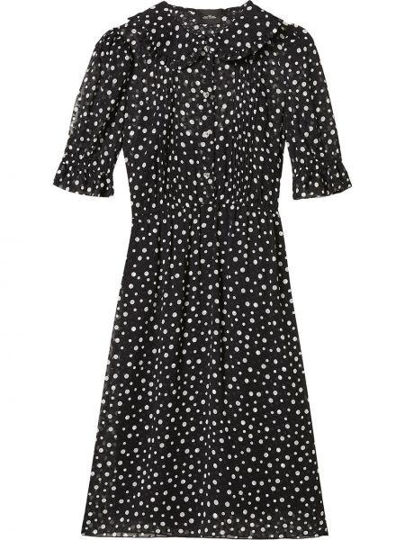 С рукавами черное платье в горошек Marc Jacobs