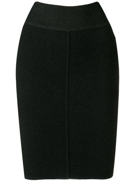 Плиссированная черная юбка мини винтажная узкого кроя Alaïa Pre-owned