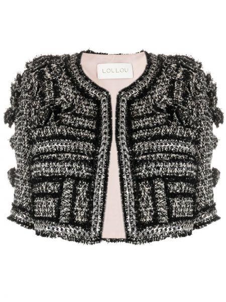 Черный пиджак твидовый с короткими рукавами Loulou
