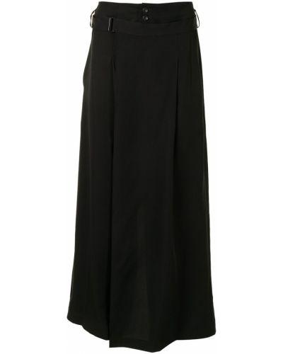 Z wysokim stanem czarny spódnica z kieszeniami bezpłatne cięcie Yohji Yamamoto
