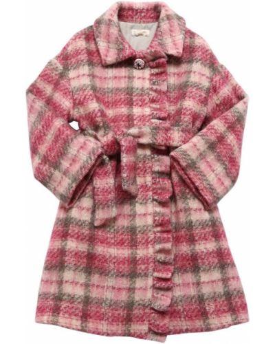 Пальто в клетку - розовое Monnalisa