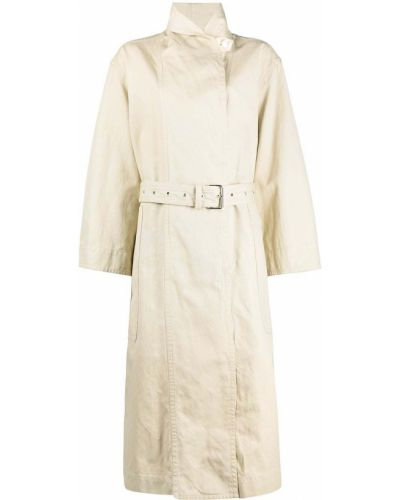 Хлопковое длинное пальто с карманами с лацканами Isabel Marant étoile