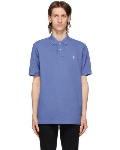 Niebieski polo z haftem bawełniane Polo Ralph Lauren