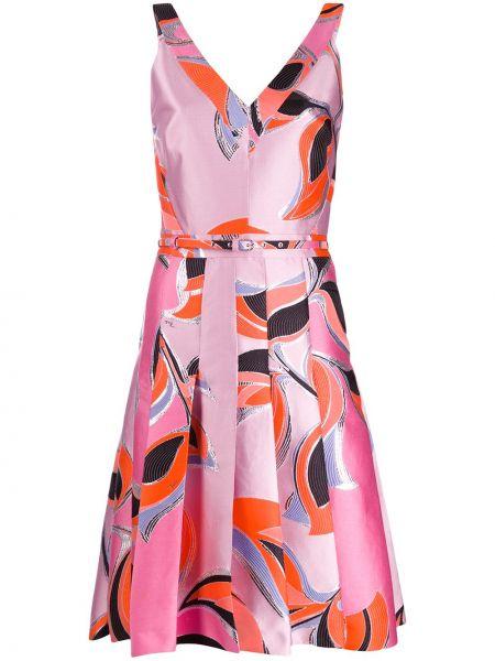 Платье миди коктейльное с V-образным вырезом Emilio Pucci