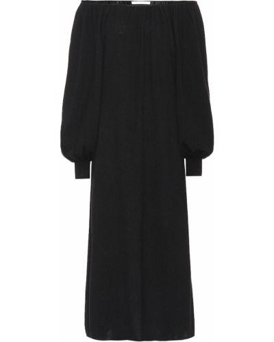 Черное вязаное платье миди Ryan Roche