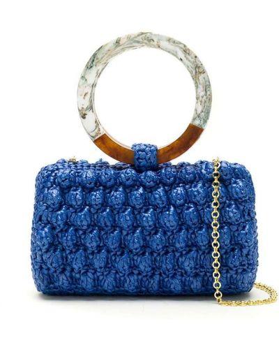 Синяя соломенная сумка на цепочке Serpui