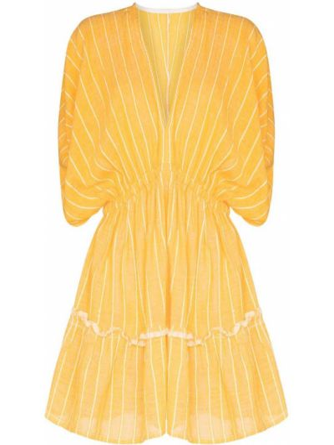 Żółta sukienka mini bawełniana Lemlem
