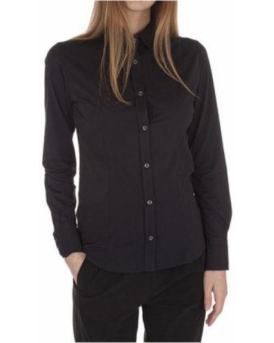Czarna koszula nocna bawełniana z długimi rękawami Rrd