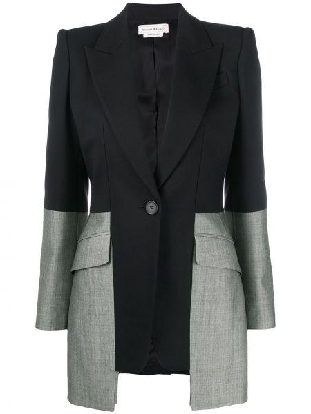 Шерстяной черный пиджак с карманами с лацканами Alexander Mcqueen