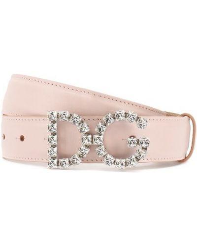 Розовый ремень кожаный Dolce & Gabbana