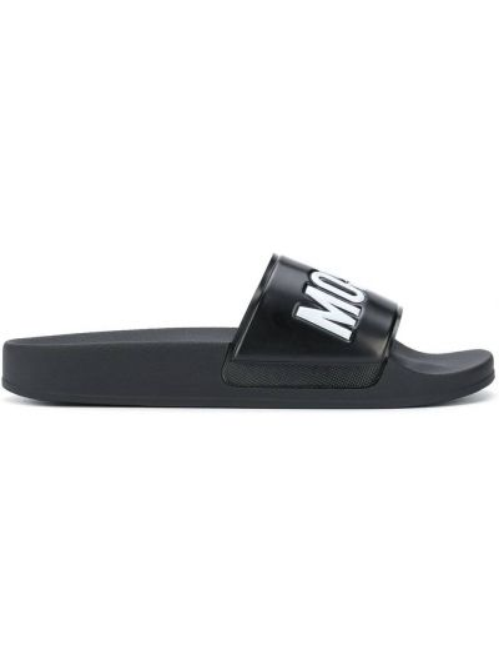 Czarny otwarty klapki otwarty palec u nogi wytłoczony Moschino