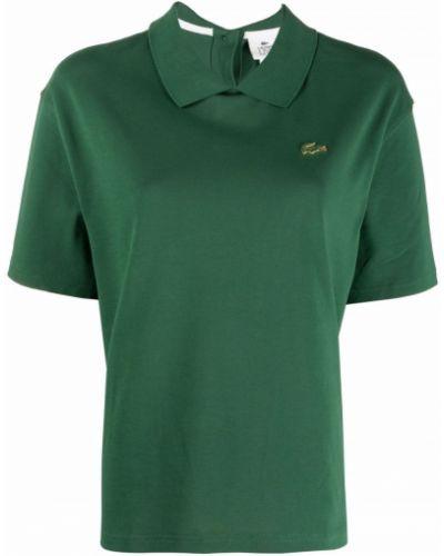 Zielona koszula bawełniana krótki rękaw Lacoste Live