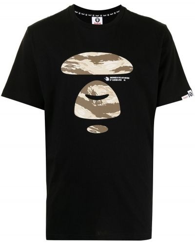 Czarna T-shirt z nadrukiem z printem Aape By A Bathing Ape