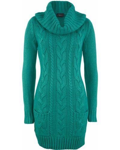 Вязаное платье с изумрудом с карманами Bonprix