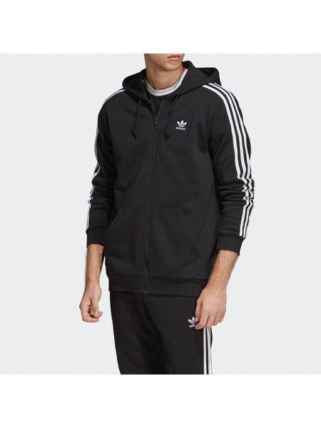 Черная кофта в полоску с нашивками Adidas Originals